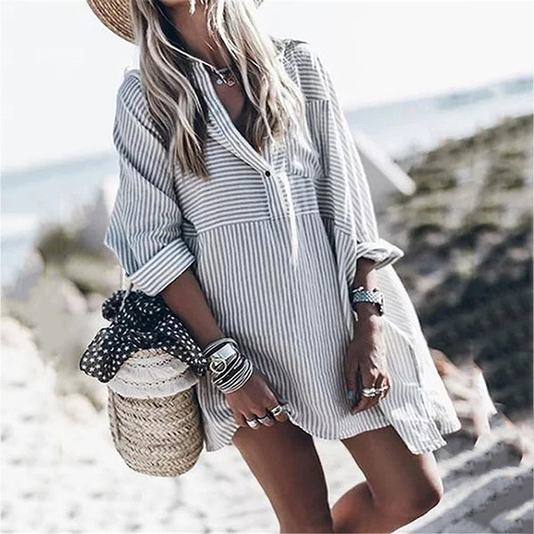 Fashion Stripe Long Sleeve Women Dress