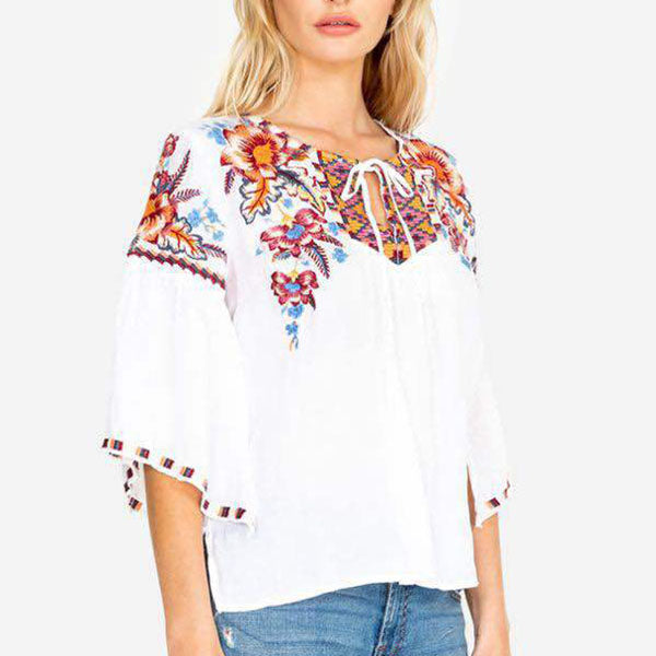 Bohemian Embroidery Lace-Up Blouse