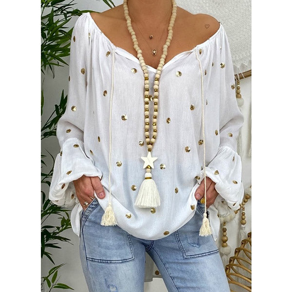 Loose Fashion V Neck Flare Sleeve Women Blouse