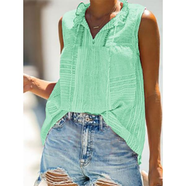 Casual V Neck Sleeveless Solid Color Blouse
