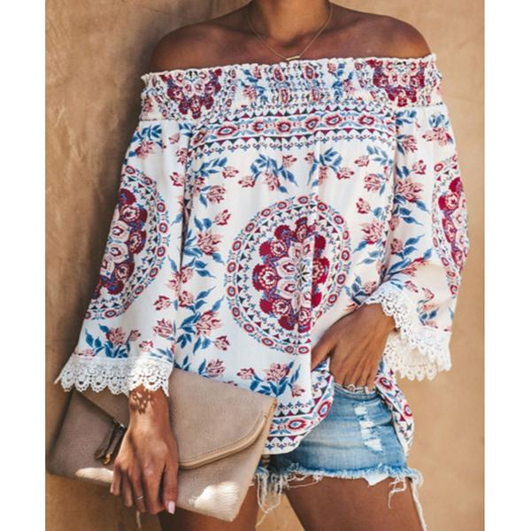 Vintage Printed Off Shoulder Blouses