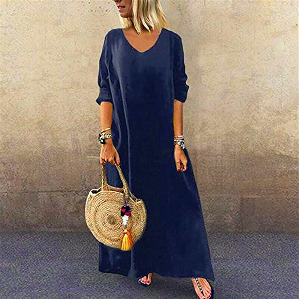 Casual Solid Color  V Neck 1/2 Sleeve Women Maxi Dresses