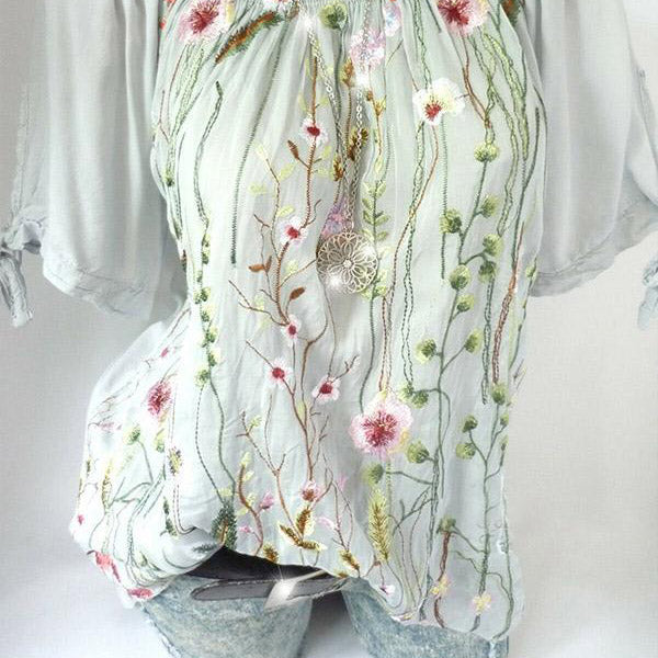 Plus Size Flower Embroidery Solid Color Blouse