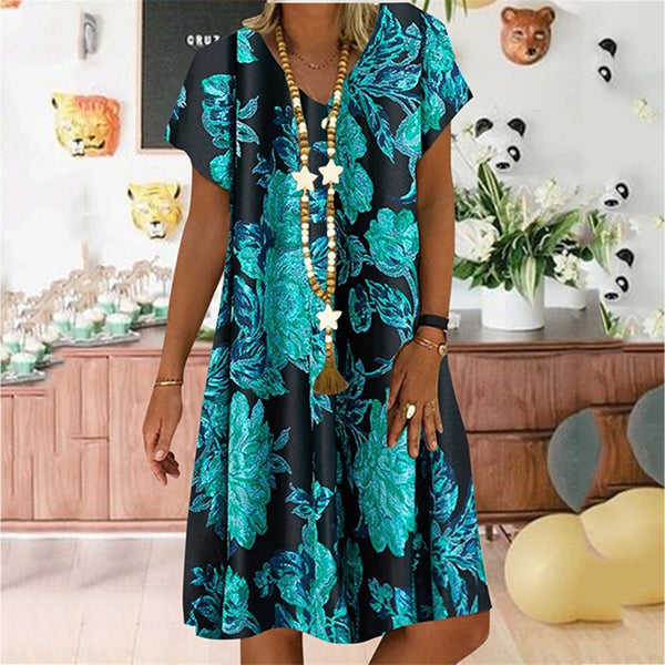 Casual Women Short Sleeve Printed Dress