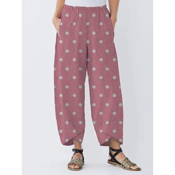 Polka Dot Pocket Loose Pants