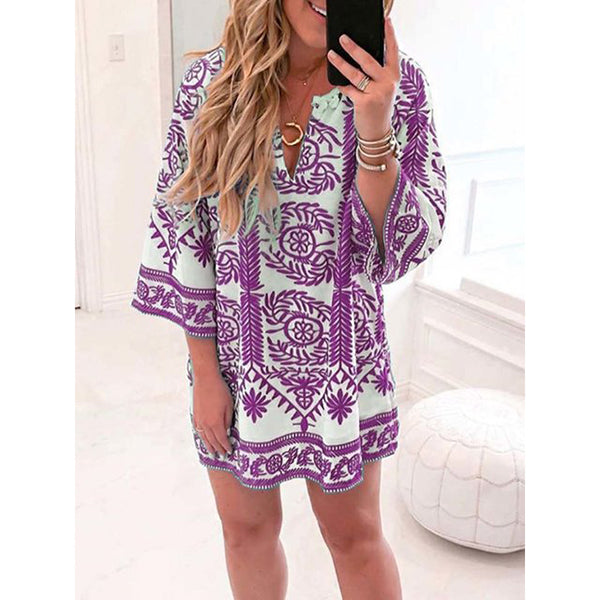 Vintage Printed V-neck Dress