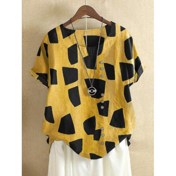 Casual Round Neck Printed Cute Tops