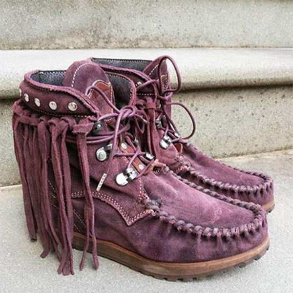 Faux Suede Fringed Autumn Boots