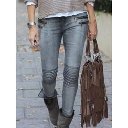 Casual Slim Zipper Design Jeans