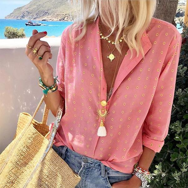 Casual Printed Long Sleeve Single-Breasted Blouse
