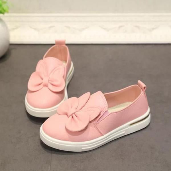Girl Fashion Casual Solid Color Bow Flats