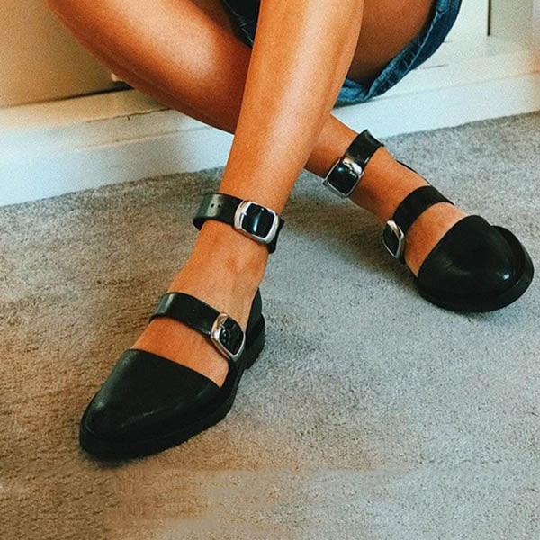 Adjustable Buckle  Flat Point Toe Sandals