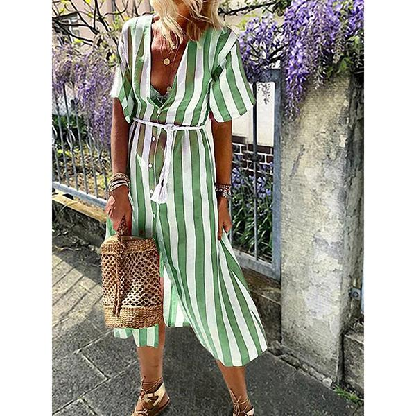 Vertical Striped V-Neck Short-Sleeve Dress