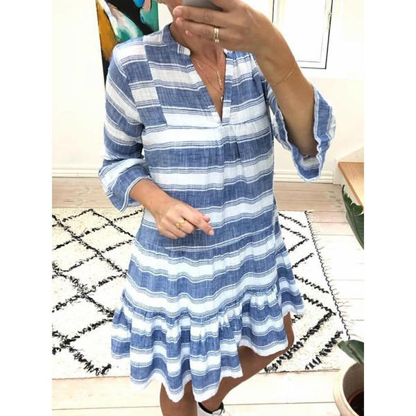 Plus Size Striped Caftan Frill Sleeves Dress