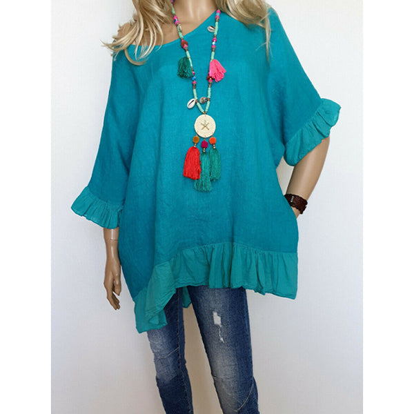 Patchwork Solid Color Casual Loose Blouses