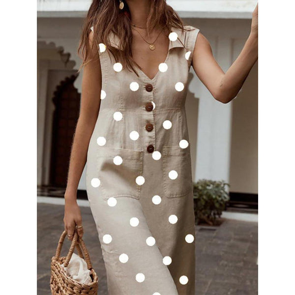 Polka Dot V Neck Sleeveless Buttons Pockets A-line Plus Size Midi Dress