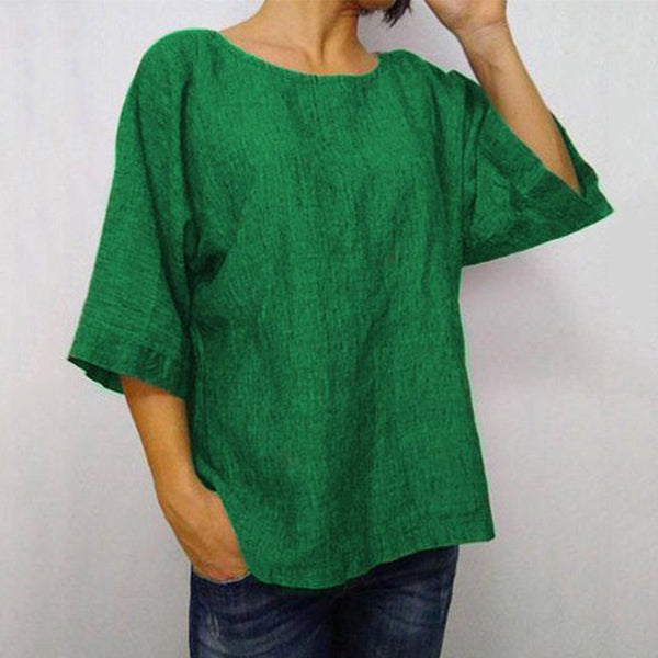 Plus Size Solid Color Daily Casual Blouse