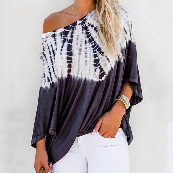 Off-The-Shoulder Loose Printed Blouse