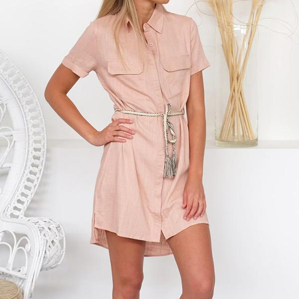 Casual Short Sleeve Solid Color Buttons Dresses
