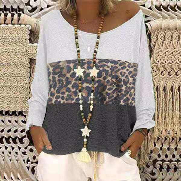 Casual Patchwork Leopard Loose Blouses