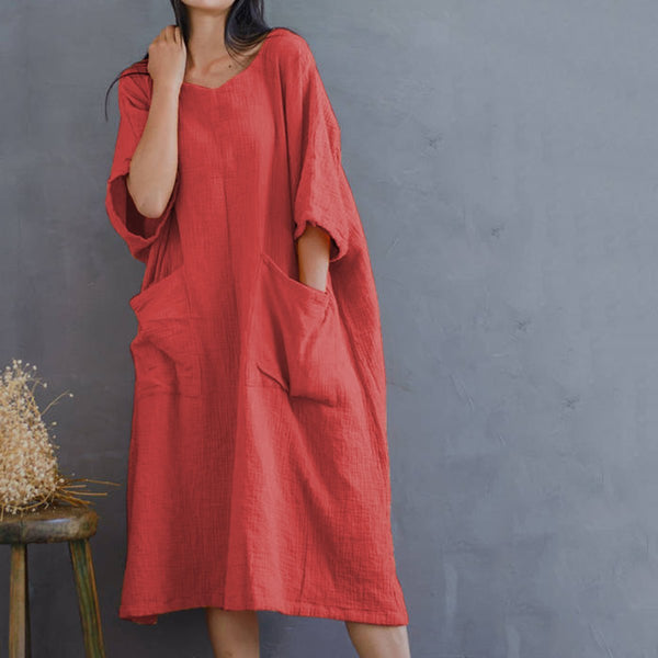 Casual Loose Pocket Cotton Linen Long Dress