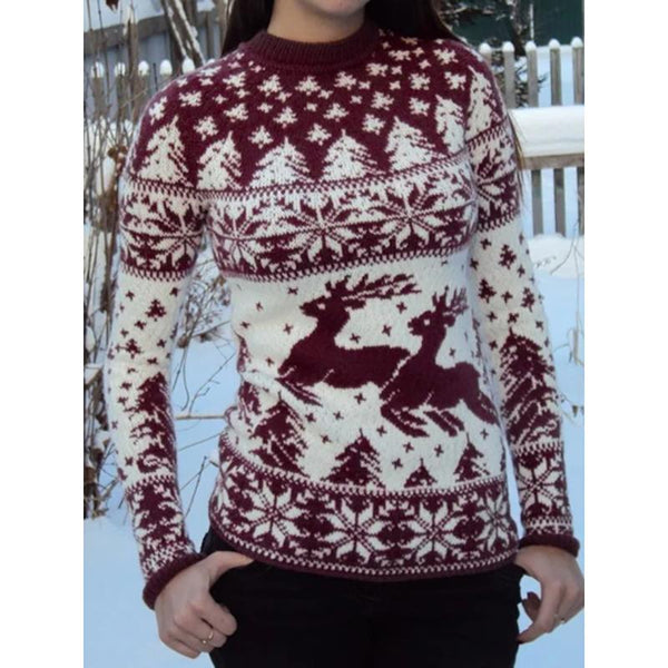 Round Neck Printed Elk Long Sleeve Sweater