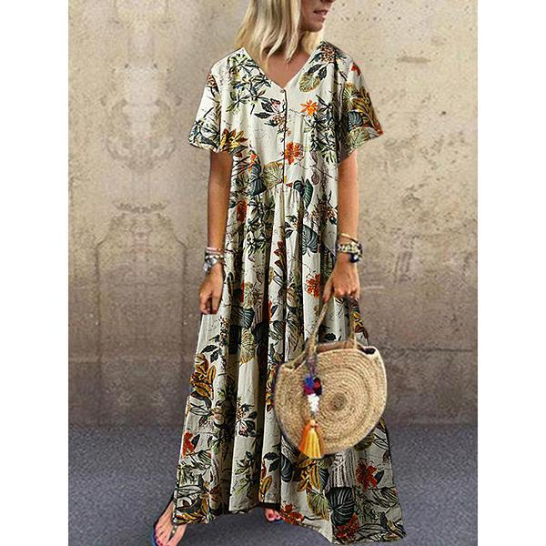 Casual V Neck Short Sleeve Printed Colour  Plait Dress
