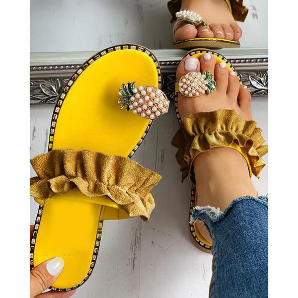 Casual Pineapple Ring Frill Hem Sandals
