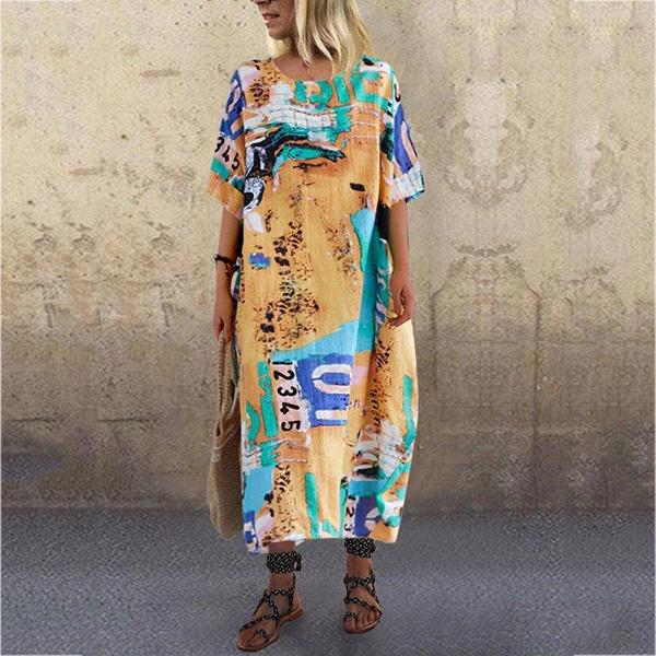 Casual Printed Cotton-Blend Dress