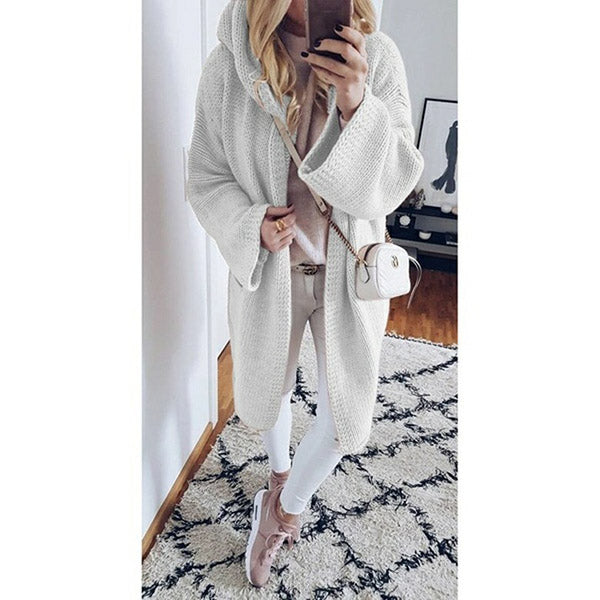 Women Hooded Solid Sweater Coats