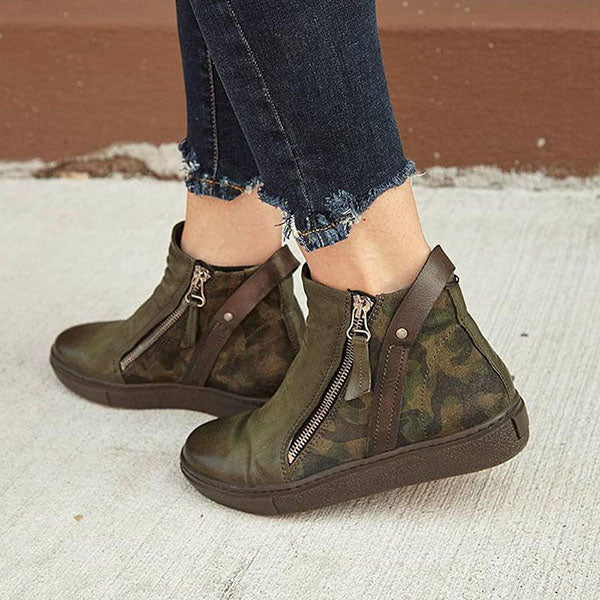 Women Breathable Camouflage Zipper Boots