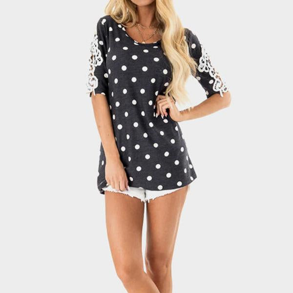 Summer 1/2 Sleeve Polka Dot Tops