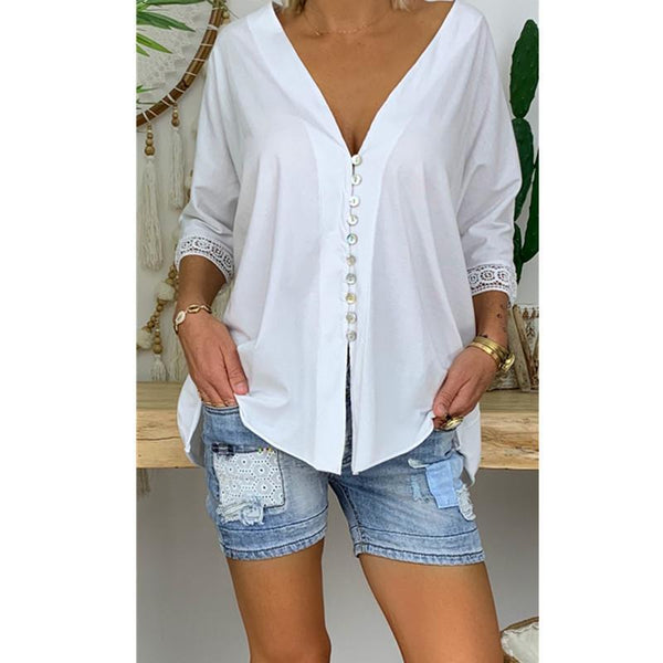 Lace V-Neck Button Solid Loose Shirt