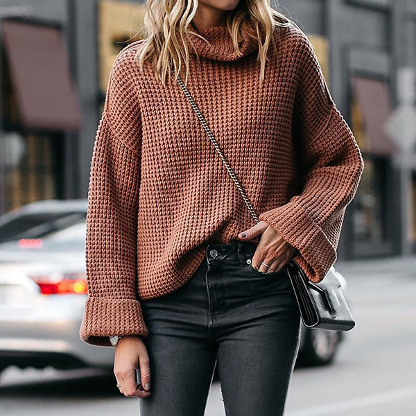 High Neck Solid Color Sweater