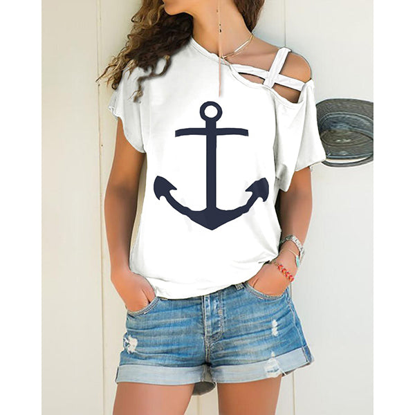 Casual X-strap Cold Shoulder Boat Anchor Print Tops