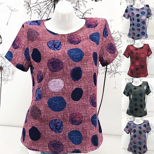 Plus Size Polka Dot Short Sleeve Blouse
