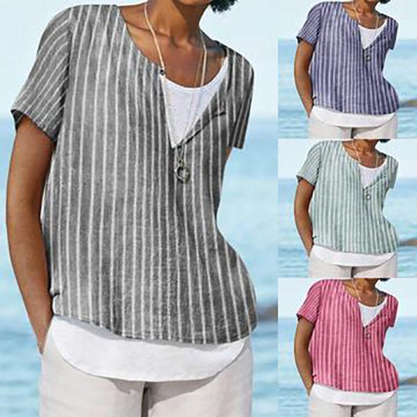 Casual Crew Neck Stripes Short Sleeve Tops