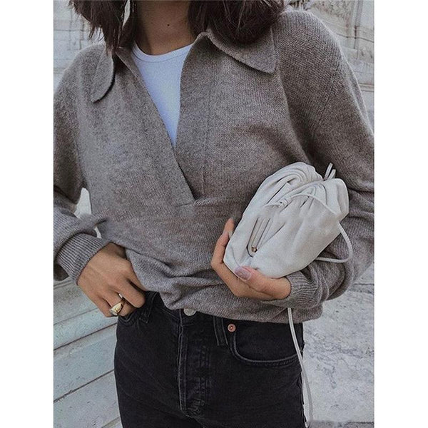 Women's Lapel V Neck Casual Sweaters