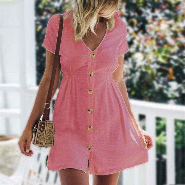 Sexy V-Neck Waist Short Sleeve Button Dress