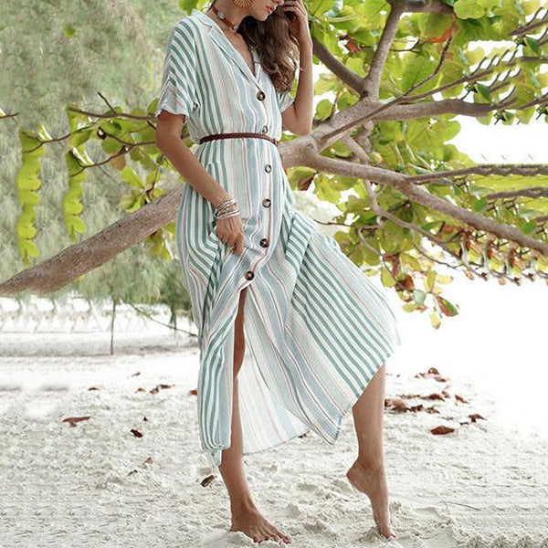 Fashion Stripe V Neck Vacation Maxi Dress
