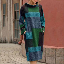 Women's Vintage Long Sleeve Plaid Dress