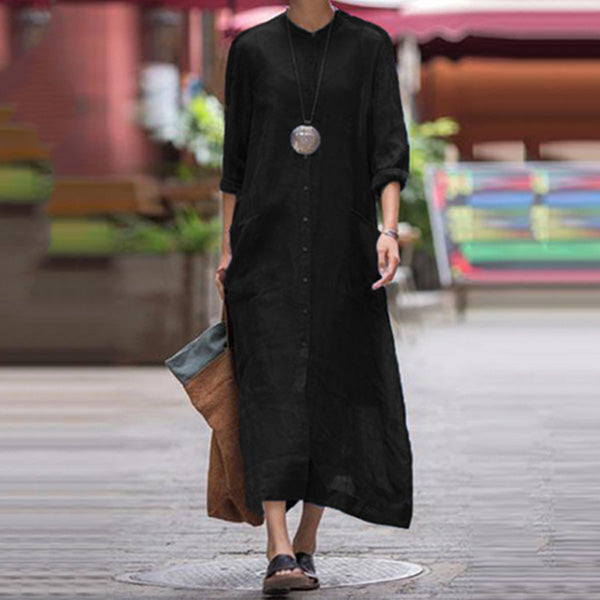 Casual Stand Collar 3/4 Sleeve Dress