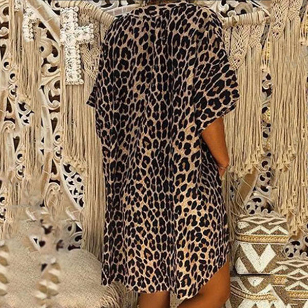 Loose V Neck Leopard Blouse
