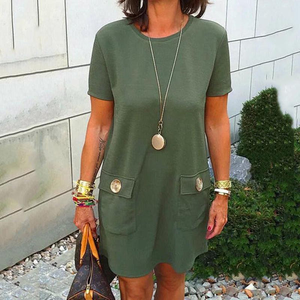 Round Neck Pocket Button Dress