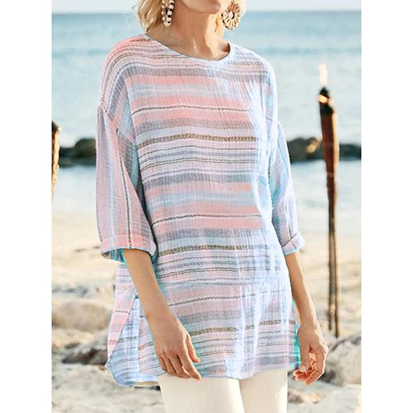 Casual Striped 3/4 Sleeve Blouses
