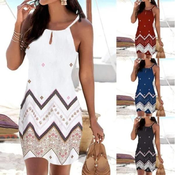 Women Halter Neck Boho Print Sleeveless Dress
