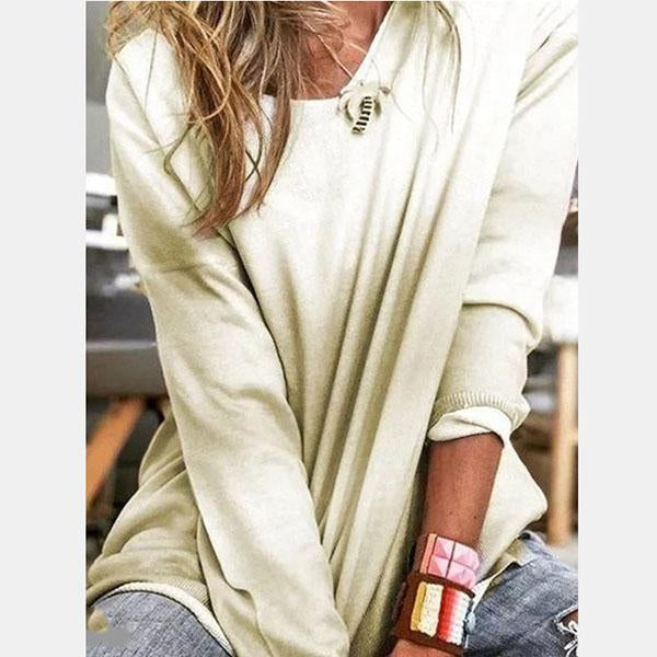 Spring Women Long Sleeve Mixed-Color Casual Blouses