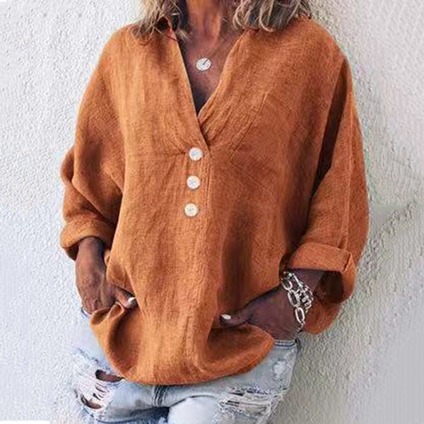 V Neck Button Solid Color Blouses