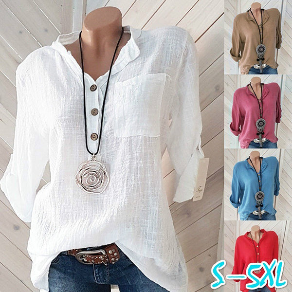 Plus Size Solid Color Stand Collar Blouse