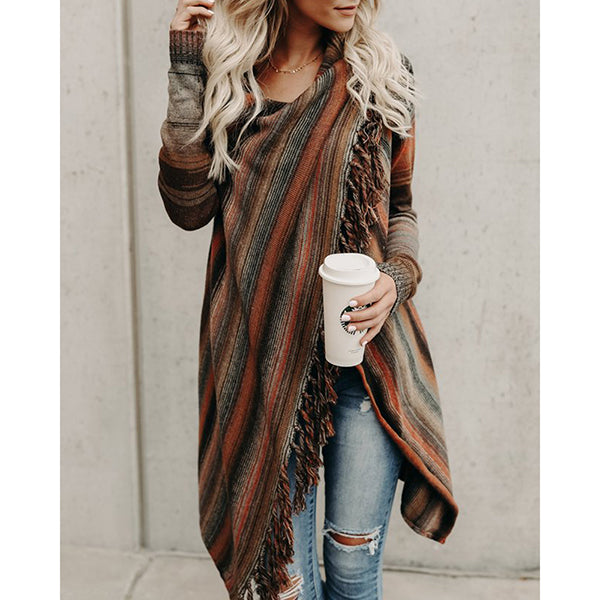 Tassel Color Block Casual Coats